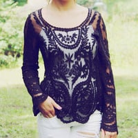 Laced in Snow Blouse in Black