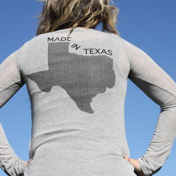Made in Texas Gray Long Sleeve Tee Shirt