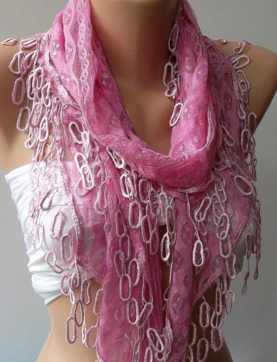 Pink Lace and Elegance Shawl / Scarf - with Lace Edge--