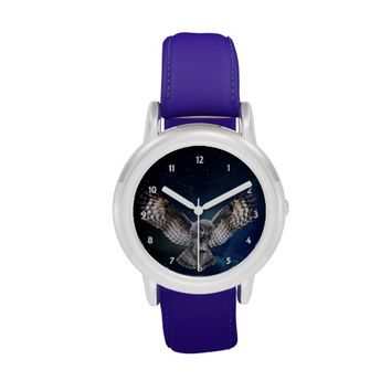 Owl and Night Sky Blue Leather Strap Watch