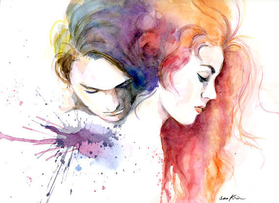 Watercolor painting - Lovers - Titanic movie poster