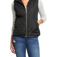 Women's Quilted Zip-Front Vests