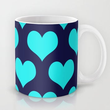 Hearts of Love Navy Turquoise Mug by Beautiful Homes