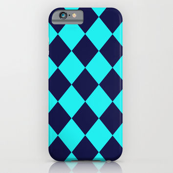 Diamonds Navy Turquoise iPhone & iPod Case by Beautiful Homes
