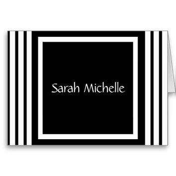 Chic Personalized Notes, Black & White Stripes