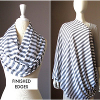Nursing  scarf, breastfeeding cover, gray scarf,  cover for breast feeding, nursing cover up, nursing infinity scarf, nursing cover stripes