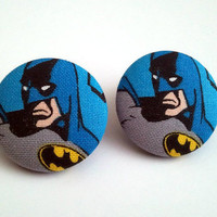 Large batman portrait button earrings