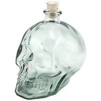 Glass Skull Shaped Liquor Decanter - 1 Liter - Halloween Specialty Drinking Gift