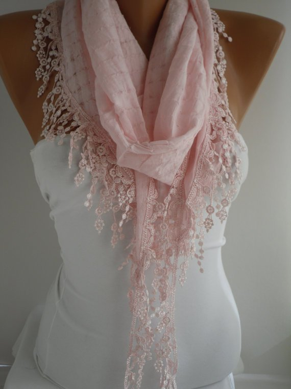 Pink  Shawl and Scarf  Headband - Cowl with Lace Edge -Summer Trends