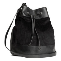 H&M - Corduroy Bag - Black - Ladies