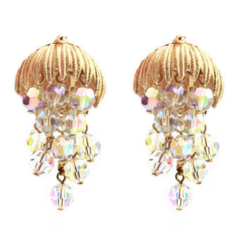 Vintage Aurora Borealis Dangle Clip On Earrings