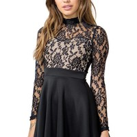 Lace Mock Flare Dress