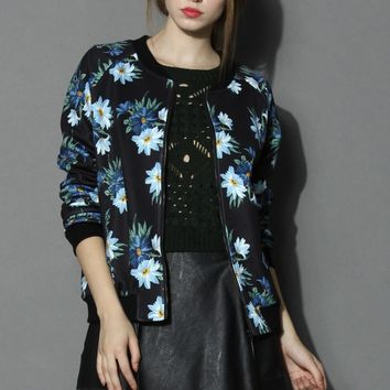 Blue Daisy Bomber Jacket Multi