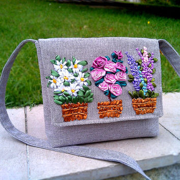 EXCLUSIVE EMBROIDERED HANDBAG- Tote bag- lupines Tote Bags-Handbag- Shoulder bag - Bags and Purses - Woman Bag-Messenger Bag-Crossbody Bag