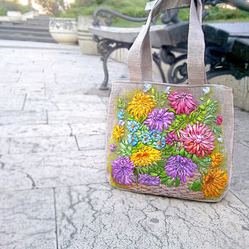 Chrysanthemums Tote bag - Blue, yellow, pink Tote bags Handbag -Women Bag - Canvas Bag - Shopping Bag - gift Christmas - New Year gift
