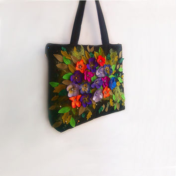 Tote Bag -  Pansy  bags - Indigo, yellow,green Tote Bags - Handbag - Shoulder bag -Women Bag - Large Bag-gift Christmas - New Year gift