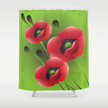 Poppies Shower Curtain by Ramon Martinez Jr
