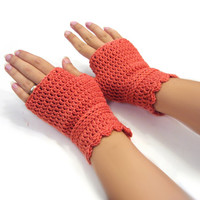 Salmon short gloves, crochet fingerless gloves, warm wool mittens, wristwarmers, merino wool