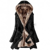 Long Sleeves Hooded Thickened Faux Fur Lined Waistband Beam Waist Pockets Korean Style Casual Women's Coat (BLACK,M) in Jackets & Coats | DressLily.com