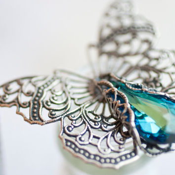 Butterfly Necklace Victorian Filigree - Swarovski Crystal Vintage Estate Rhinestone Filigree Style
