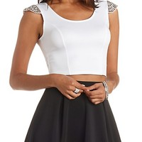 Beaded Cap Sleeve Crop Top by Charlotte Russe - Ivory