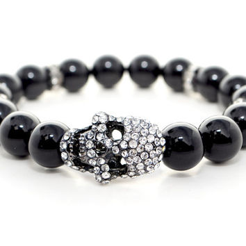 Skull Bracelet, Black Beaded Stretch Bracelet, Halloween Bracelet, Women's Jewelry