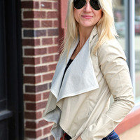 Open Leather Jacket {Beige}