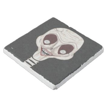 Ghoulish Skull Stone Beverage Coaster