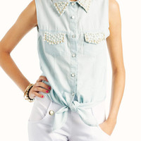 pearl-embellished-denim-tie-top LTBLUE - GoJane.com