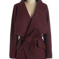 Mid-length Long Sleeve Preferred Pairing Coat in Merlot