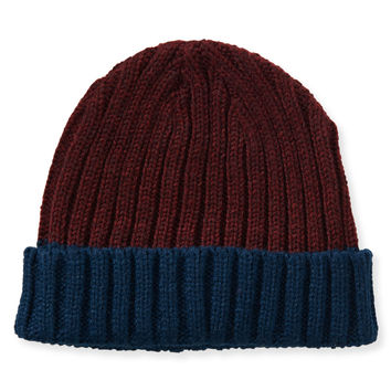 Aeropostale Colorblocked Fold-Over Beanie - Deep Navy, One