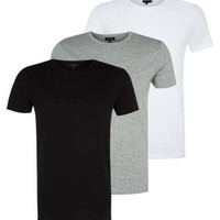 3 Pack Black Grey and White Crew Neck T-Shirts