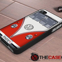 Iphone case - VW bus in Red , Iphone 4 case , Iphone 4s case Volkswagen