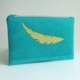 Large Clutch - Feather Applique - Zippered Pouch -Turquoise Faux Suede - Vegan