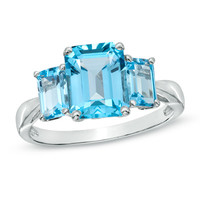 Emerald-Cut Swiss Blue Topaz Three Stone Ring in 10K White Gold