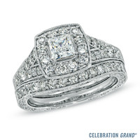 Celebration Grand® 1-1/2 CT. T.W. Princess-Cut Frame Diamond Bridal Set in 14K White Gold (H-I/I1)