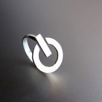 POWER Button - Handmade Silver Ring