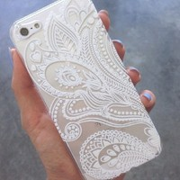 Clear Plastic Case Cover for Apple iPhone 5/5S, 5C, 6, 6Plus 6+ - Henna White Floral Paisley flower mandala ethnic tribal