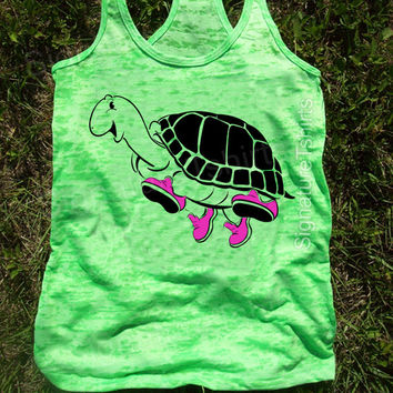 Turtle Running Racerback Tank, Gym Tank, Running Tank, Gym Shirt, Running Shirt, Workout Shirt, fitness tank, workout clothes, running shoes