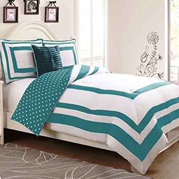 Geneva Home Fashion 4-Piece Hotel Juvenile Reversible Polka Dot Comforter Set, Full, Turquoise