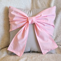 Light Pink Big Bow on Light Gray Pillow 14x14 by bedbuggs on Etsy