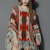 Aztec Fringe Knitted Poncho in Orange Orange Free