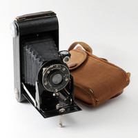 Kodak Six-20 Junior 620 Roll Film Folding Camera with Case Working