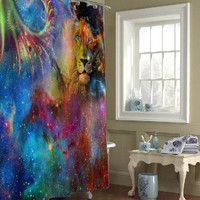 lion galaxy shower curtains that will make your bathroom adorable