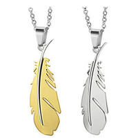 Gullei Trustmart : Silver Blue Gold Feather Stainless steel cheap couple necklace [GTMCN015] - $14.00 - Couple Gifts, Cool USB Drives, Stylish iPad/iPod/iPhone Cases & Home Decor Ideas