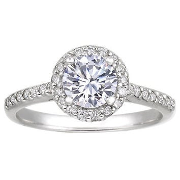 18K White Gold Halo Diamond Ring with Side Stones (1/3 ct.tw.)