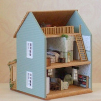 1/144th Scale Micro Mini Cottage with Loft - Dollhouse Miniature