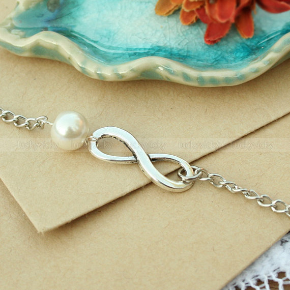 Infinity pearl bracelet, Antique karma bracelet, True Love bracelet