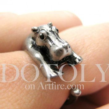 Miniature Baby Hippo Animal Wrap Around Ring in Silver - Sizes 5 to 9 available