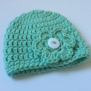 Custom Beanie Hat with Button Flower- Color and Size